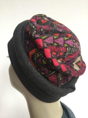 Wi 17 - Beanie genäht - rotgrau gemustert - Kopfbedeckung kaufen