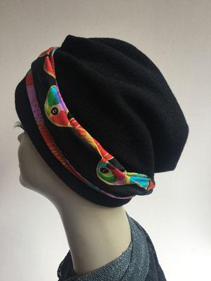 Wi 25 - Turban Nizza mit Schlaufe - Schwarz mit farbiger Schlaufe - Kopfbedeckungen nach Chemo