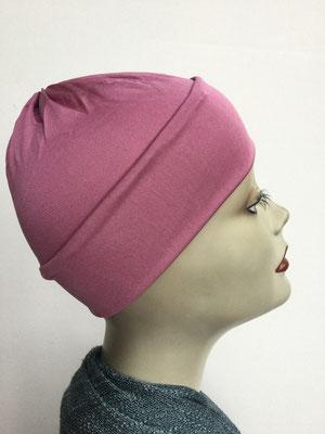 G79m - Kopfbedeckung kaufen - Seidenjersey-Chäppli fest - für Sie und Ihn - vieux-rose