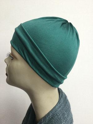 G77 - Kopfbedeckungen kaufen - Seidenjersey-Chäppli fest - für Sie und Ihn - grüntürkis