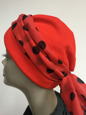 Wi 27 - Turban Nizza mit Schlaufe - rot mit schwarzen Tupfen - Kopfbedeckungen nach Chemo