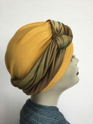 G 86 - Kopfbedeckungen kaufen - Seidenjersey-Foulard und Chäppli - elegant und klassisch - oker olivbraun
