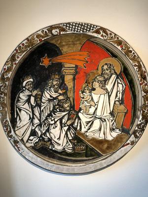 Anbetung der Könige, Majolika – Teller, Spanien oder Italien