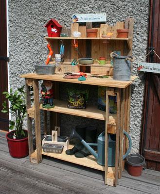 Table à rempoter en bois de palette