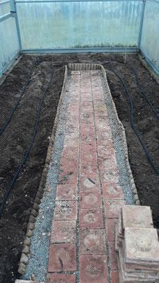 Tropfschläuche verlegt, die im Boden versenkt sind - das spart viel Wasser