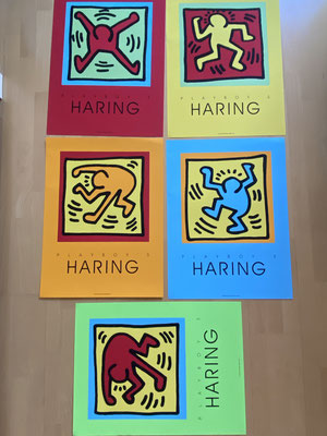 "5x Keith haring ""Dancers"" Plakate, Playboy Edition 1990"