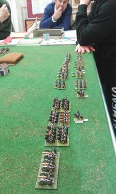 Lo schieramento russo con la cavalleria sull'ala sinistra...