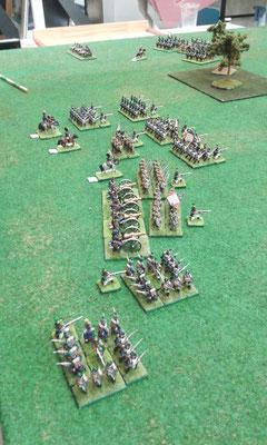 La reazione della fanteria francese alla minaccia sul fianco della cavalleria nemica...