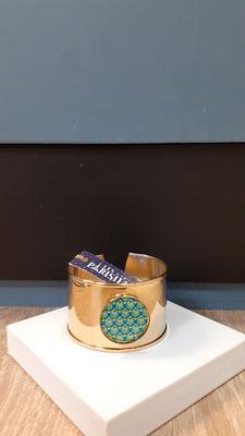 """<FONT size=""""5pt"""">Bracelet manchette Or fin Parisiennes - <B>49,00 €</B> </FONT>"""