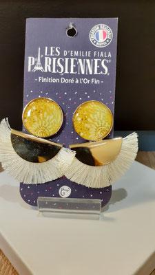"""<FONT size=""""5pt"""">Boucles d'oreilles Pompon doré Or fin Paillettes- <B>45,00 €</B> </FONT>"""