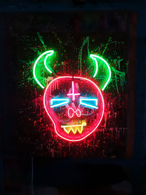 SYMPATHY FOR THE DEVIL 1, 2020, mixed media and neon light n wood, 80x70x6,5cm
