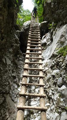 Die lange Leiter am Ende der Klamm