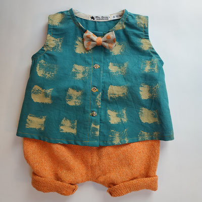 Mode éco-responsable : vêtements pour enfants 0 à 4 ans et femme  en tissu biologique peint main et tricot en fibres recyclées. Fabrication française.