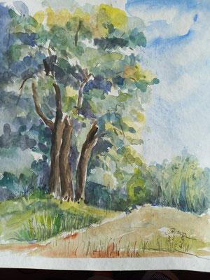 Frühling an der Spree, Aquarell, 20 x 30 cm