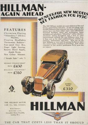 Reclame Hillman uit 1929.