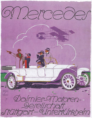 Affiche uit 1913 van Ludwig Hohlwein met een Mecedes 37/90 pk Kettingwagen.