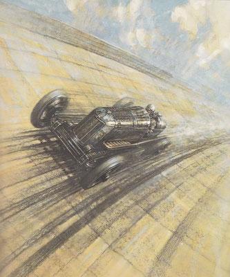 In 1930 vestigt Gwenda Steward op Montlhéry een nieuw wereldrecord op de 10 mijl in een 2-liter 8-cilinder Derby-Miller. Een kunstwerk van Frederick Gordon Crosby.