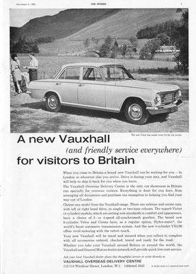 Advertentie Vauxhall uit 1962.