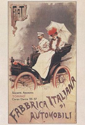 Een affiche uit 1899 van G. Carpanetto voor F.I.A.T.