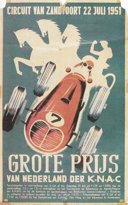 Poster Grote Prijs van Nederland 1951 op het circuit van Zandvoort. Dit was de laatste Grand Prix die nog niet meetelde voor het wereldkampioenschap.