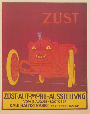 Affiche van Th. Th. Heine voor de Züst-Automobil-Ausstellung in 1907.