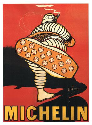 Een ontwerp van O'Galop uit 1905. Met Bibendum als kick-boxer accentueerd hij het speciale anti-slip profiel.