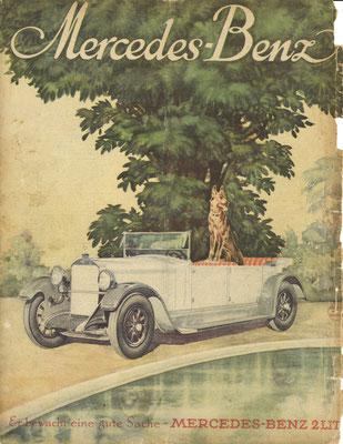 Een advertentie van Mercedes-Benz achter op het weekblad Die Woche uit 1927.
