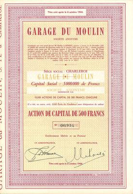 Een aandeel Garage du Moulin S.A. uit 1944.