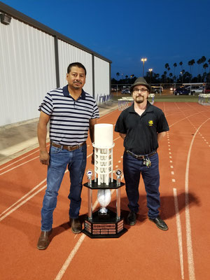 Valley Trophies owner, Travis and Tinaco sculpture creator, David at the presentation