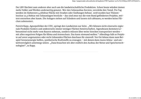 Schwäbische Zeitung 31.12.2019 Vom Acker kommt kaum Sonnenstrom