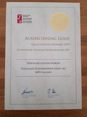 Unser Tösstaler Goldschinken erringt seinem Namen entsprechend die Goldmedaille mit 48 von maximal 50 Punkten!