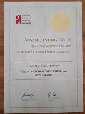 Der Tösstaler Kräuterspeck holt die Gold-Medaille mit sensationellen 49 von 50 Punkten!