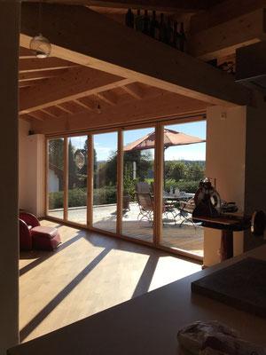 Faltschiebetüre geschlossen - Neubau - Holzfenster - © Glaserei Allgäuer