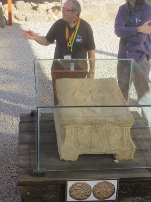 Our very frustrated guide at Magdala