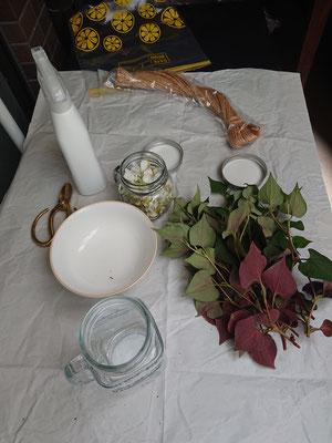 小さめの茎と葉はお花みたいにチンキにしてみます。アルコール消毒したガラスの容器に詰めて~っと。