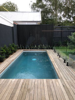 Pool with wooden decking