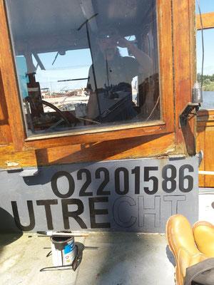 glas in lood op de boot