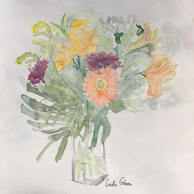 Une Fleur Parmi les Fleurs, aquarelle DISPONIBLE