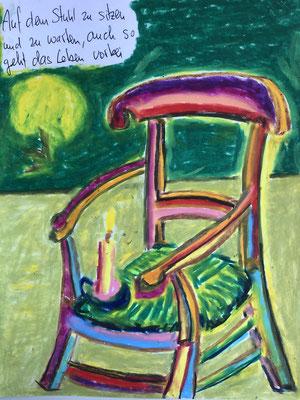 Auf dem Stuhl zu sitzen und zu warten, auch so geht das Leben vorbei