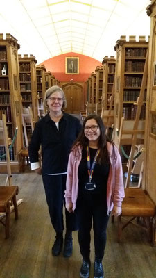 Britta Biedermann (Project Manager), Sandrine Hamelin (Outgoing 2019) at the Longwell Library, Oxford, UK