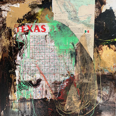 Aqui En Texas | (21.5 x 21.5 in) | paper, acrylic, dye, gold leaf and ink on panel | SOLD