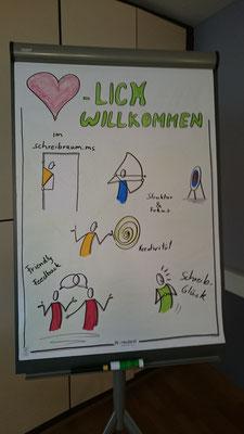 Darum ging es beim 1.Kreativen Schreibmarathon in Münster - liebevoll illustriert von Dr. Eva-Maria Lerche (Bild: Katja Angenent)