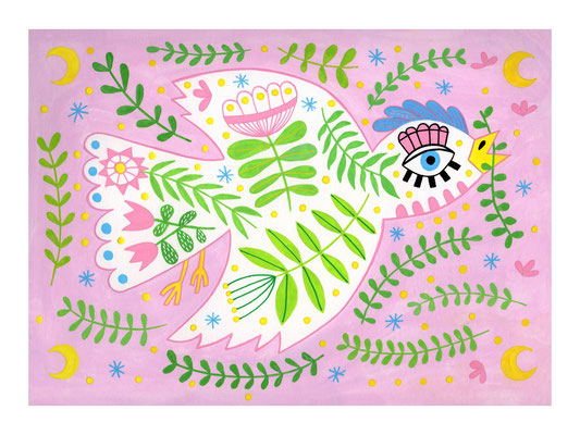 PAJARICO, gouache sobre papel, 24 x 32 cm. Teruel, 2020.