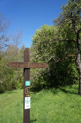 Gut beschildert mit dem gelben L, kann man fast ohne auf die Karte zu schauen entspannt durch die Wiesen spazieren.