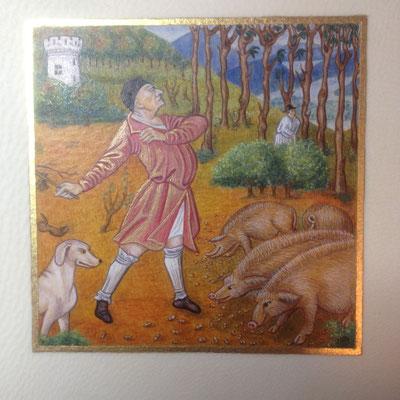 Interprétation du Calendrier des Très riches Heures du Duc de Berry, 10X10cm, parchemin, pigments historiques, Or-et-caracteres oct 2019