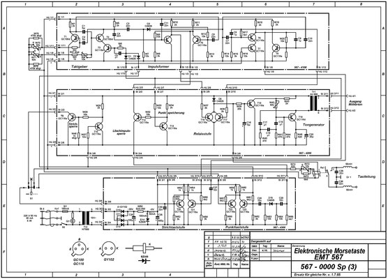Diagram. DDR. RFT Elektronische Morsetaste. EMT 567. Marked C. Lorenz AG, Werk Leipzig in Verwaltung 1965