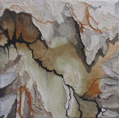 Kleine Verwitterungen IX, Acryl u. Tusche auf Leinwand, 20 x 20 cm