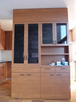 食器棚 カップボード ブラックガラス