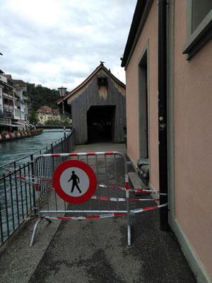 gesperrter Zugang zu Mühleplatz-Schleuse