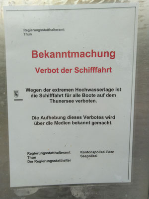 Bekanntmachung Bächimatt - Schiff-Fahrtsverbot